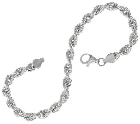 Sterling Silver Diamond Cut Rope Bracelet by Silver Style