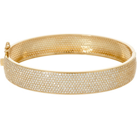 Diamonique Small 7.40 cttw Pave' Set Bangle, 14K