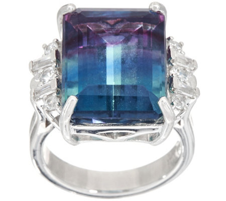 Cushion Cut Bi-Color Fluorite Ring Sterling, 11.75 cttw