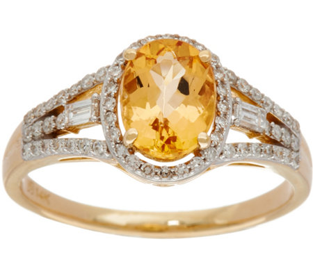 Oval Imperial Topaz & Baguette Diamond Ring 14K, 1.15 cttw