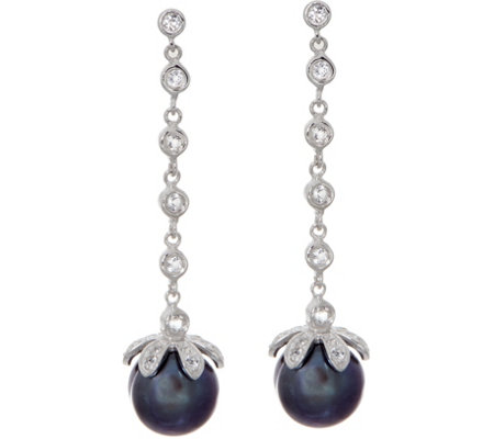 Honora Cultured Pearl Line Drop Earrings, Sterling