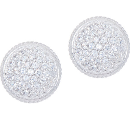 Diamonique Pave' Round Stud Earrings, Sterling