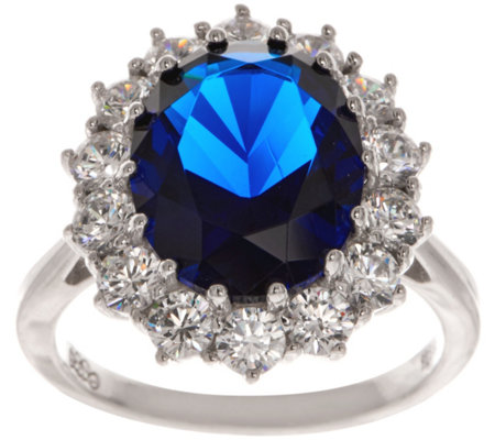 Diamonique Sterling 12.00 cttw Simulated Sapphire Ring