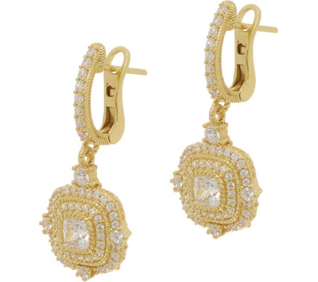 Judith Ripka 14K Clad 1.65 cttw Diamonique Earrings
