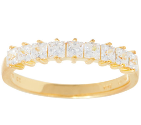 Diamonique Princess Cut 9-Stone Ring, Sterling or 14K Gold Plated