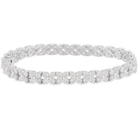 Epiphany Platinum Clad Diamonique 100 Facet Flowe Tennis Bracelet