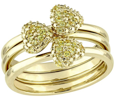 0.30 cttw Yellow Sapphire Set of Three Stack Rings, 14K Gold