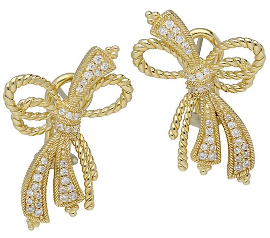 Judith Ripka 14K Clad Diamonique Bow Earrings
