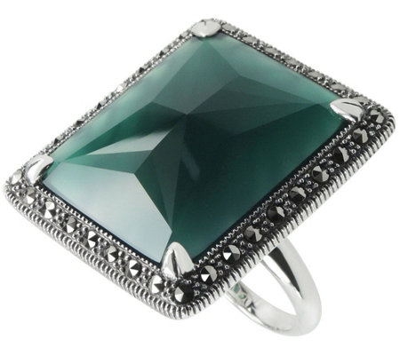 Suspicion Sterling Rectangle Green Agate & Marcasite Ring