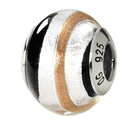 Prerogatives Sterling Gold/Black Italian MuranoGlass Bead