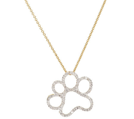 Diamond paw print pendant wchain 14k clad by affinity page 1 diamond paw print pendant wchain 14k clad by affinity aloadofball Images