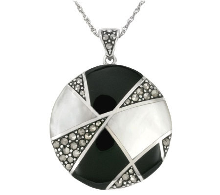 Suspicion Sterling Onyx & Mother-of-Pearl Pendant w/ Chain