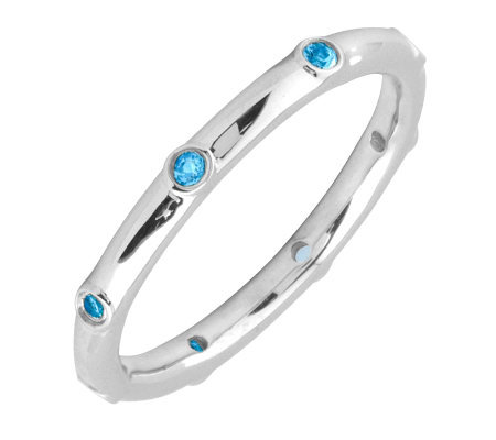 Simply Stacks Sterling Blue Topaz Multi-stone Stackable Ring