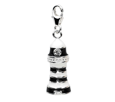 Amore La Vita Sterling Black and White Lighthouse Charm