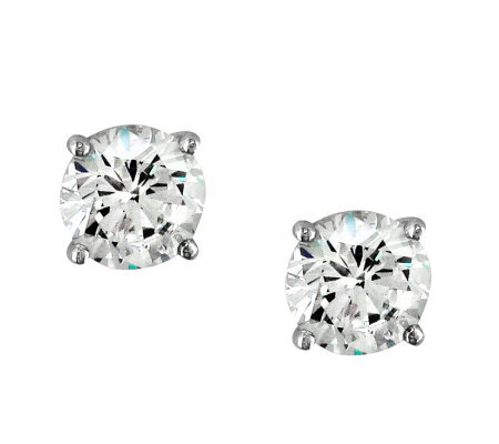 Diamonique 4 00 Cttw Round Stud Earrings Platinum Clad