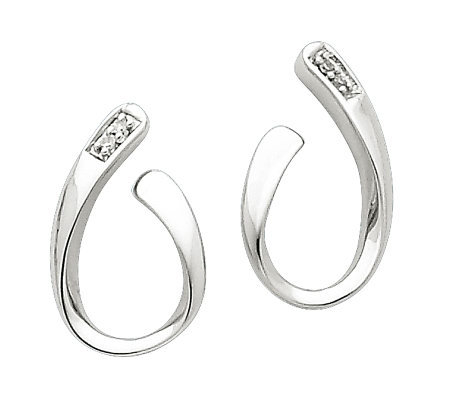 Sterling Polished Diamond Accent Curved Earrings