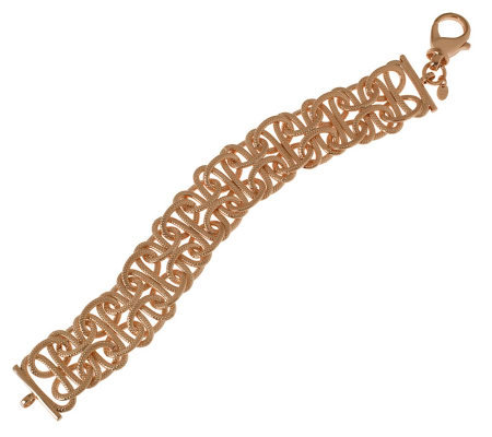 "Bronzo Italia 8"" Textured Interlocking Links Bracelet"
