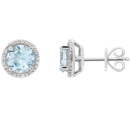Sterling Aquamarine 1/8 ct tw Diamond Halo StudEarrings