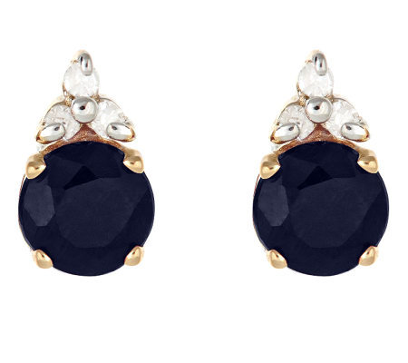 0.95 ct tw Sapphire and Diamond Accent Earrings, 14K Gold