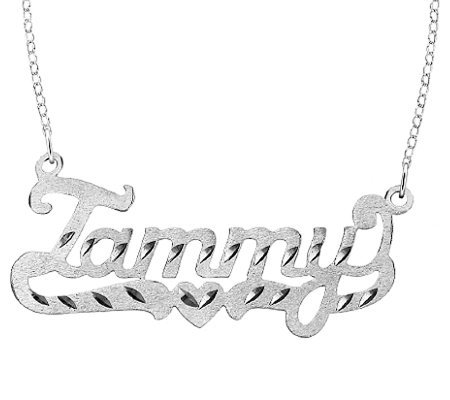 Sterling Diamond-Cut Personalized Name Necklace