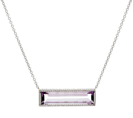 Jane Taylor Gemstone Sterling Silver Bar Necklace 9.00 cttw