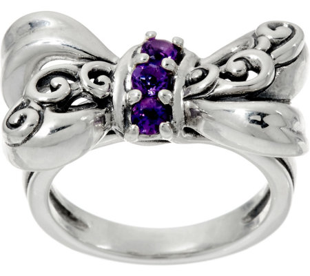 Carolyn Pollack Sterling Silver Amethyst Bow Ring