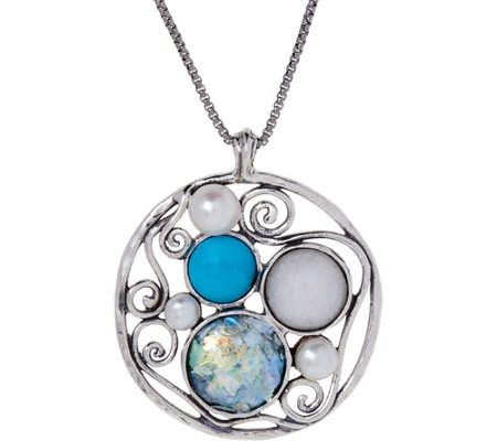 Or Paz Sterling Silver Roman Glass Pendant with Chain