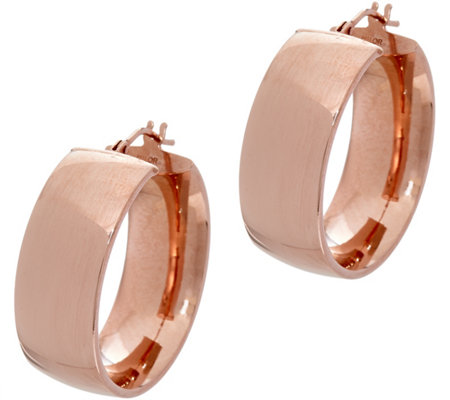 "Italian Gold Polished Wedding Band 1"" Hoop Earrings, 14K"