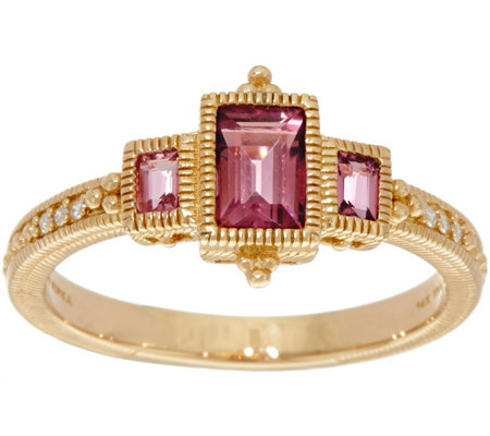 Judith Ripka 14K Gold Three Stone Pink Tourmaline Ring