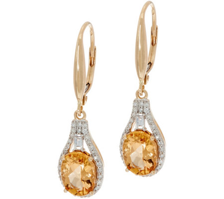 Imperial Topaz & Baguette Diamond Drop Earrings, 14K 2.50 cttw