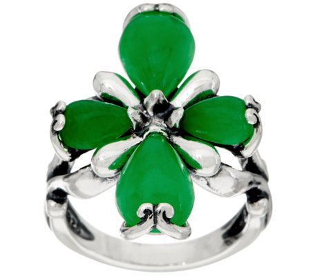 Carolyn Pollack Sterling Silver Jade Cabochon Cross Ring