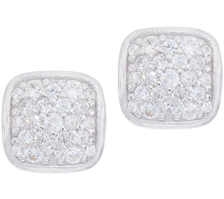 Diamonique Pave' Cushion Stud Earrings Sterling