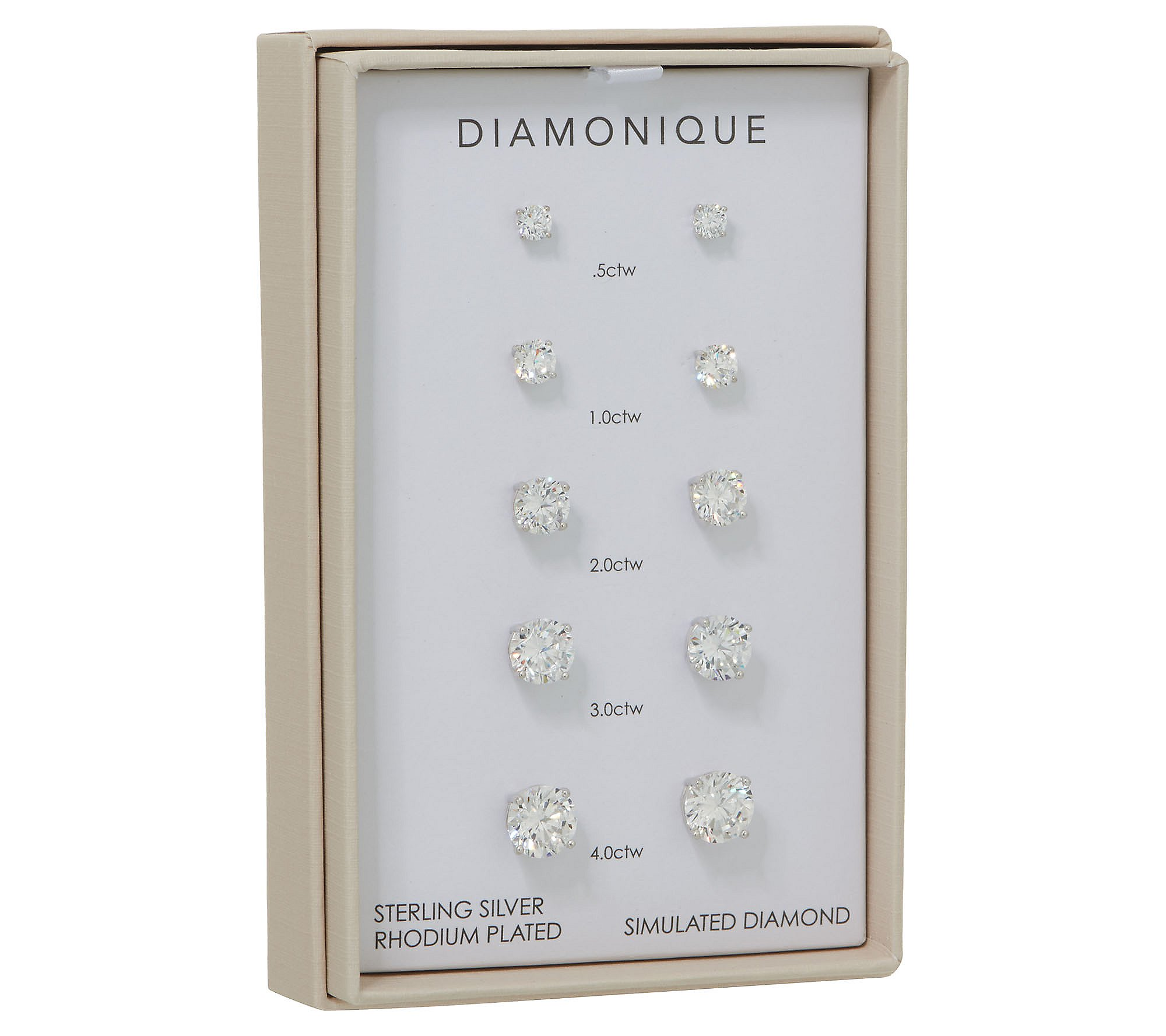 Diamonique Set Of 5 Stud Earrings Sterling Or 14k Plated Boxed Qvc Com