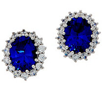 Diamonique Royal Collection Oval Halo Earrings, Sterl - J356116