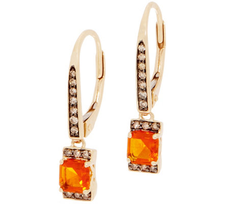 Asscher Cut Fire Opal and Diamond Drop Earrings, 0.35 cttw, 14K