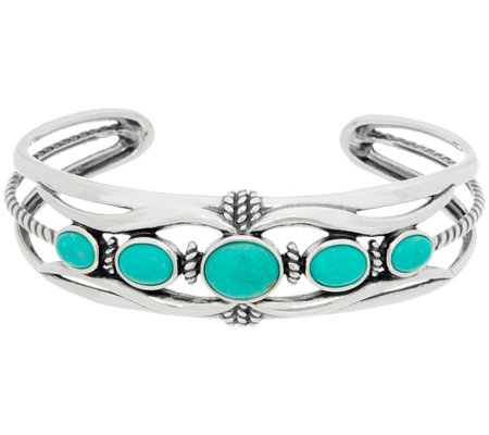American West Sterling Silver Five Stone Blue Green Turquoise Cuff