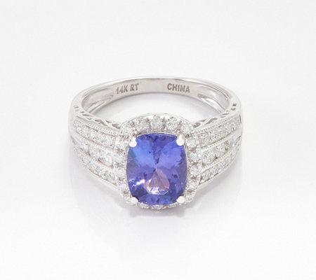 9606299cdc Elongated Cushion-Cut Tanzanite & Diamond Ring, 2.00 cttw, 14K — QVC.com