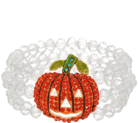 As Is Kirks Folly Starlight Pumpkin Stretch Beaded Bracelet