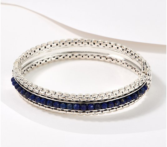 JAI Sterling Silver Gemstone Box Chain Bangle