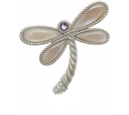 Judith Ripka Sterling Multi-Stone Dragonfly Pin