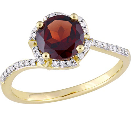14K Gold 1.65 ct Garnet & 1/10 cttw Diamond Floral Halo Ring