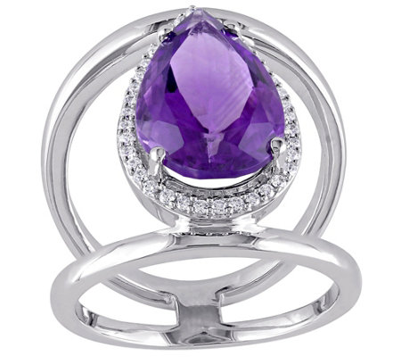 4.50 ct Amethyst & 1/7 cttw Diamond Ring, 14K White Gold