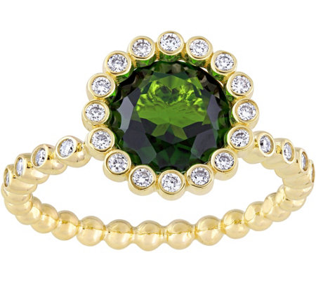 14K 2.25 ct Chrome Diopside & 1/5 cttw DiamondHalo Ring