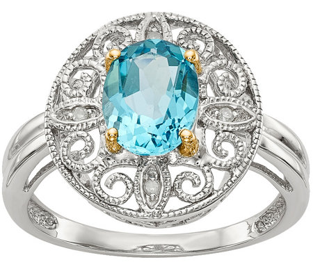 Sterling & 14K 1.50 ct Blue Topaz & Diamond Swirl Ring