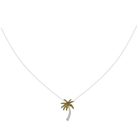 Diamond Palm Tree w/ Chain, 14K, 1/4 cttwby Affinity