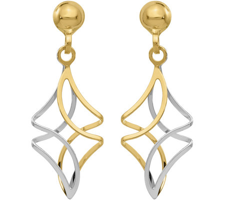 14K Two-Tone Twisted Post Dangle Earrings