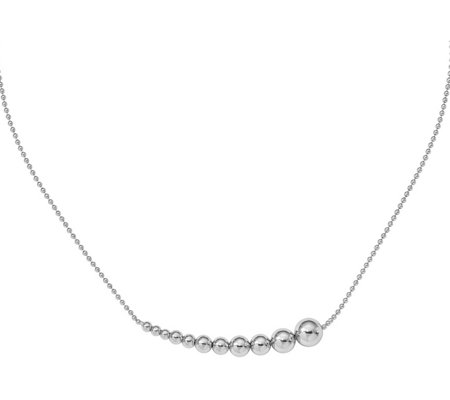 Italian Silver Graduated Beaded Inline NecklaceSterling, 6.4g
