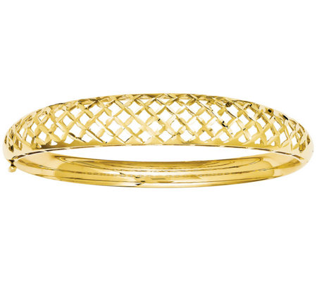 14K Gold Graduated Open-Weave Hinged Bangle, 11.6g