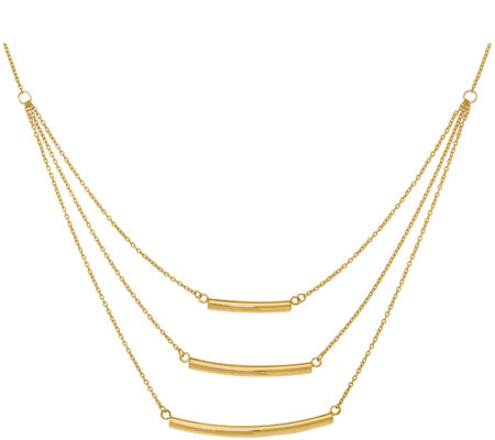 14K Gold Triple Strand Bar Necklace