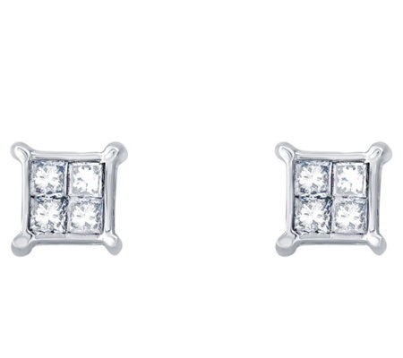 Affinity 14K 1/10 cttw Princess Invisible-Set Stud Earrings